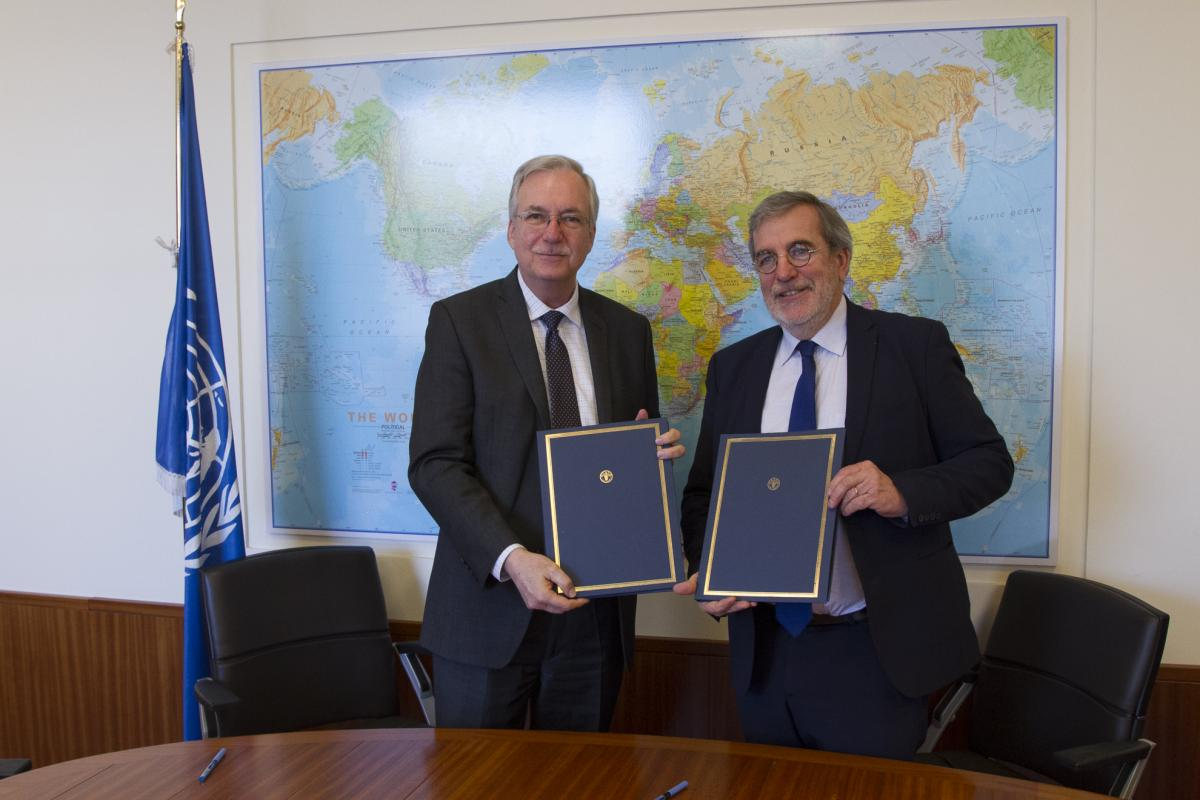 Daniel Gustafson, FAO Deputy Director-General, and Jean-François Isambert, President of AgriCord, at the signing ceremony at FAO headquarters in Rome.